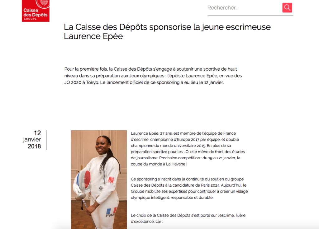 La Caisse des Dépôts sponsorise la jeune escrimeuse Laurence Epée