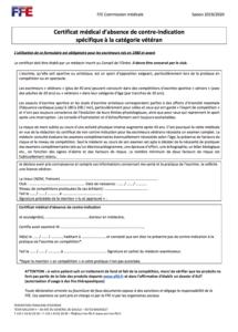 Certificat médical - Catégorie vétéran